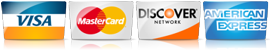 Visa, Mastercard, Discover Credit Card Payments Accepted